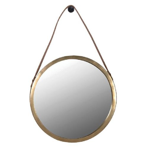 Round Mirror with Saddle Hanging Strap